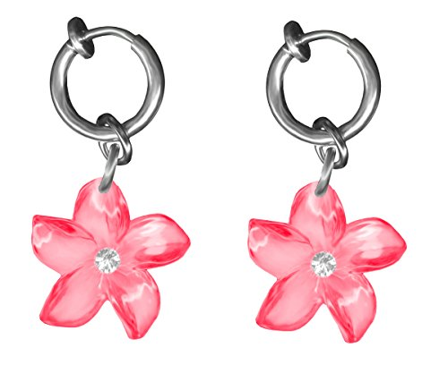 (BodySparkle Body Jewelry Pair of Flower Fake Belly Button Rings-Pink-Non-Pierced Clip On Hoop Earring-3/8 inch (10mm))