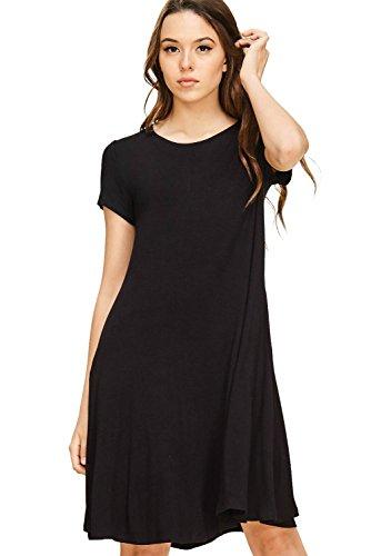 Annabelle Women's Solid Knit Loose Drape Mid Length Plus Size Dress Black XX-Large (Black Knit Basic Dress)