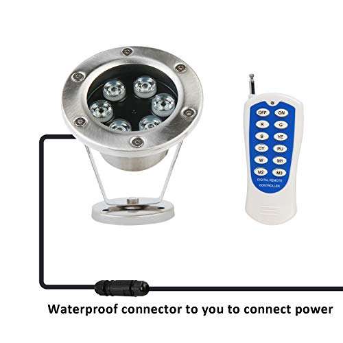 JSN&PC LED Underwater Lights 18W RGB Color Changing with RF Remote Controller & IP68 Waterproof Joint for Party Swimming Pool Fountain Water Rockery Grass Land by JSN&PC (Image #6)