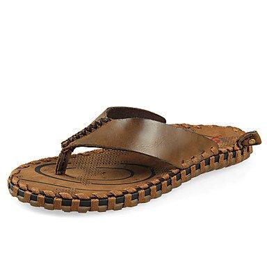 Sandalias de verano zapatos de hombre casual Zapatillas de cuero negro/marrón/Caqui Caqui