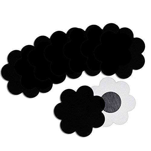 Nippleless Covers, 10Pairs Breast Pasties Adhesive Petal Tops Disposable Black