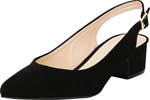 Cambridge Chunky Pump Imsu Toe Slingback Closed Select Block Heel Mid Pointed Buckled Black Women's Bq1rZwCB
