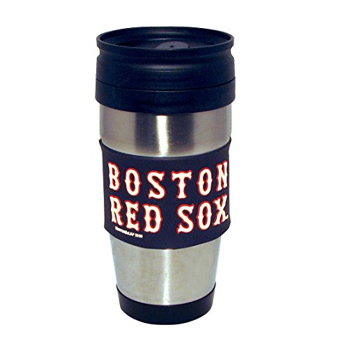 MLB Boston Red Sox Stainless Steel Travel Tumbler with PVC Wrap, 15-Ounce, Team Color