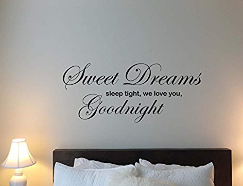Atopdecals Sweet Dreams Sleep Tight We Love You Goodnight Wall Decal Baby Children Quote Inspirational Lettering Kids Vinyl Sticker Motivational Gift Home Bedroom Decor Art Poster Mural Custom SW (Goodnight Sleep Tight Baby Bedding)