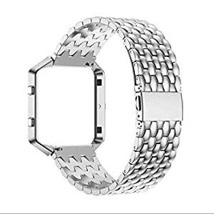 Fitbit Blaze Bands, BESSKY 2016 Men Genuine Stainless Steel Watch Band Wrist Strap (No Frame)