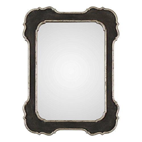 My Swanky Home Vintage Style Black Silver Curved Edge Wall Mirror | Vanity Scalloped ()