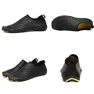 "AVADAR Men Women Water Shoes Barefoot Quick Dry Aqua Shoes for Swim Walking Yoga Lake Beach Garden Park Driving Boating. (12US Women/11US Men=11.3"" foot, Black)"