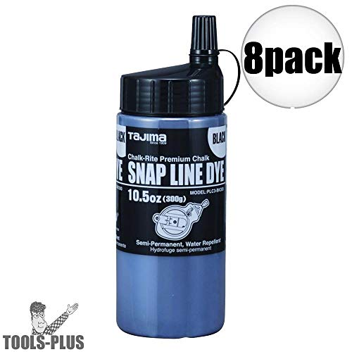 Tajima PLC3-BK300 Chalk-Rite 10-1/2 Oz. Snap Line Black Powder Dye 8-Pack
