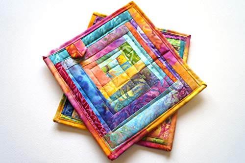 Bright and Colorful Quilted Fabric Patchwork Pot Holders Set