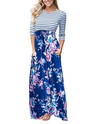(MEROKEETY Women's Striped Floral Print 3/4 Sleeve Tie Waist Maxi Dress with)