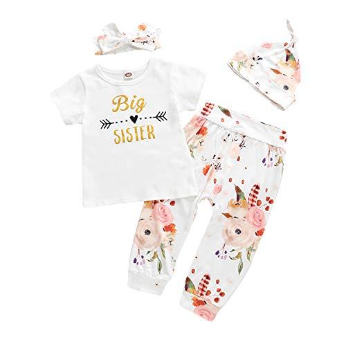 Toddler Girl Clothes,Little Sister Big Sister Bodysuit White Shirt+Floral Legging Pants+Headbands+Hat 4Pcs Outftis Set (Big Sister Short, 2-3 Years)]()