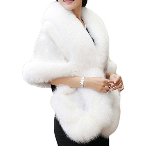 Women's Winter Faux Fur Wedding Bride Wrap Shawl Cape Cloak Evening Jacket PS37 White
