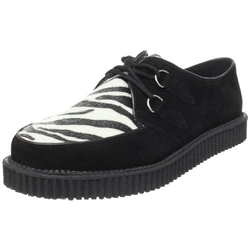 Pleaser Men's Creeper-600/ZB Loafer,Black Suede -Zebra Fur,7 M - Lace Pleaser Oxfords