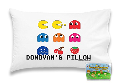 "Customizable, ""Pac-Man Arcade"" Pillowcase. Personalized With Your Child's Name - Perfect Gift For Boys And Girls Of All Ages! Xbox One Playstation 4 (Toddler 14""X21"")"