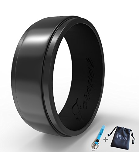 Elegant Glam Silicone Wedding Ring (Band) for Men. Thin, Comfortable, Durable. 8mm Wide. Gift Bag and Silicone Keychain Included. (Glam Bands)