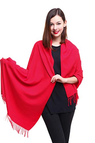 REEMONDE Womens Super Soft Long Shawl Solid Colors Warm Pashmina Big Scarf (Red)