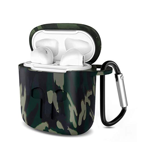 HSWAI Airpods Case Protective Silicone Cover and AirPods Accessories Shockproof Case Compatible with Apple Airpods 1 & AirPods 2.(green camouflage)