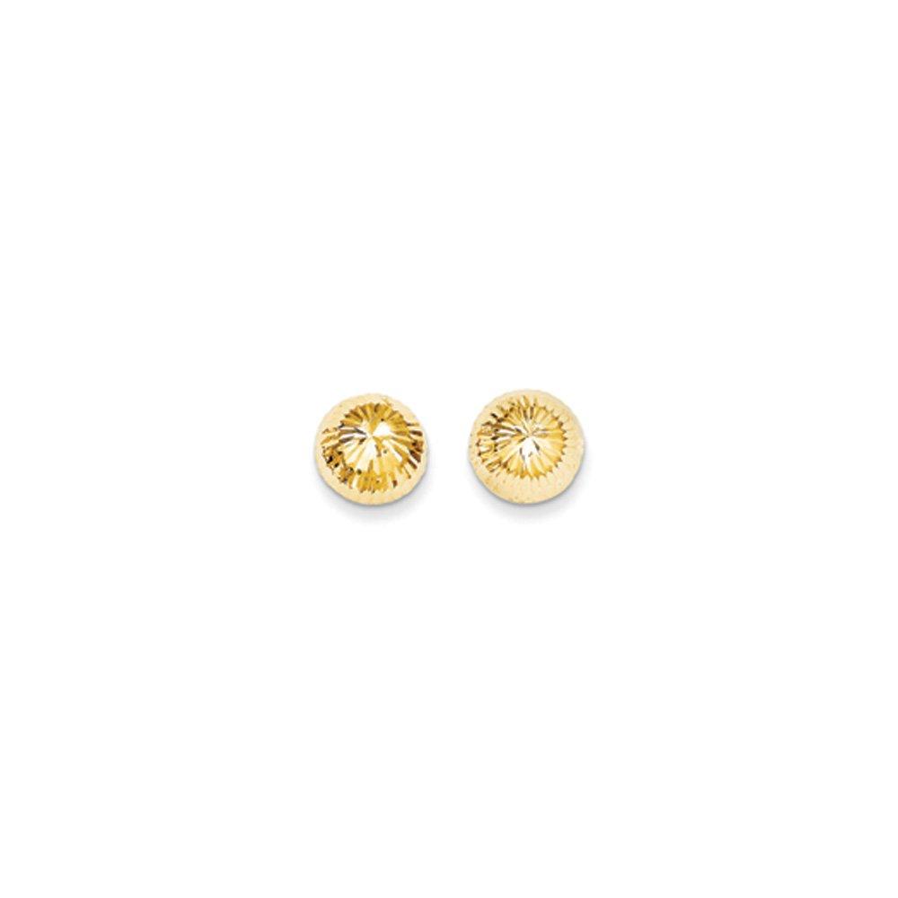 10mm Diamond-cut Half-Ball Post Earrings in 14k Yellow Gold