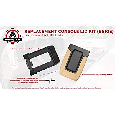 Center Console Lid Replacement Kit Beige - Replaces 924-811, 19127364, 19127365, 19127366, 924-812 - Fits Chevy Silverado, Avalanche, Tahoe, Suburban, GMC Sierra, Yukon - Interior Armrest Hinge Latch: Automotive