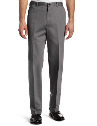 Haggar Men's Work To Weekend Hidden Expandable Waist No Iron Plain Front Pant,Moonstruck,40x30 by Haggar