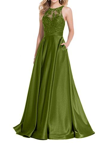 A Olive Abendkleider Gruen Brautmutterkleider Satin Rock Gruen Festlichkleider Lang Linie Ballkleider Charmant Spitze Damen 6ZwqA88