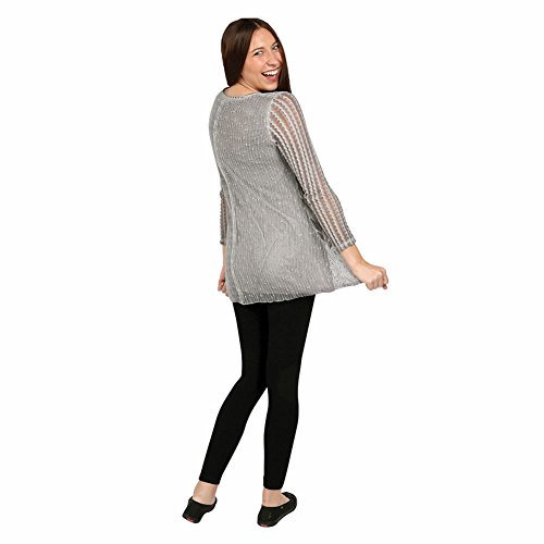 Women's Greige Tunic Sweater - Soft Gray Lacey Knit Top - 3X