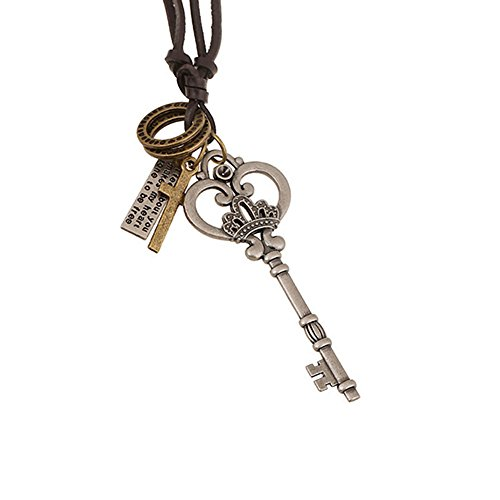 Vintage Retro Crown Key Cross Crown Pendant Charm Necklace Brown Leather Chain Cord Adjustable Necklace 18'' to 32'' - Charm Crown Necklace Pendant