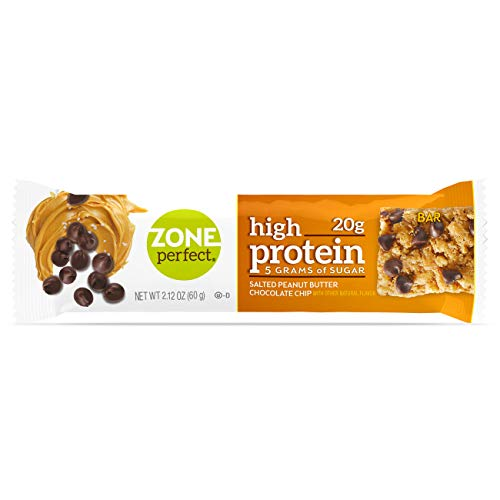 ZonePerfect High Protein Nutrition Snack Bars, Salted Peanut Butter Chocolate Chip, 2.12 oz bars (16 Bars) ()
