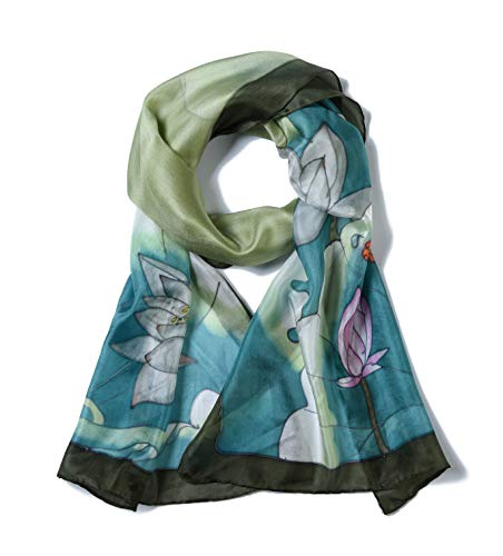 Invisible World Women's 100% Mulberry Silk Scarf Hand Painted Dragonfly Lotus (Silk Painted Scarf)