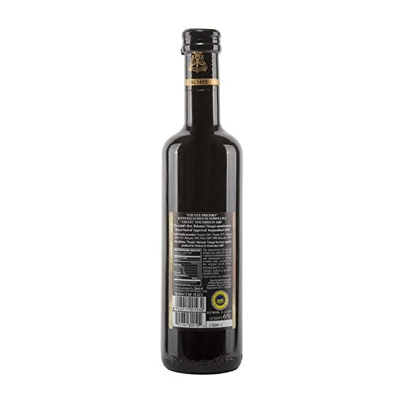 "Giuseppe Giusti""Premio"" Balsamic Vinegar of Modena 16.9 fl.oz (500ml) 2  Try it as a thick, tart-sweet addition to any dish, from poultry, fish, meat and game or cheese to fruits and desserts.  Try it on braised pork, marinate a chicken with it or soak it up with hunks of Pugliese bread"