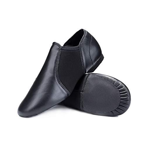 STELLE Leather Jazz Slip-On Dance Shoes for Women Men (Black, 10.5MW)