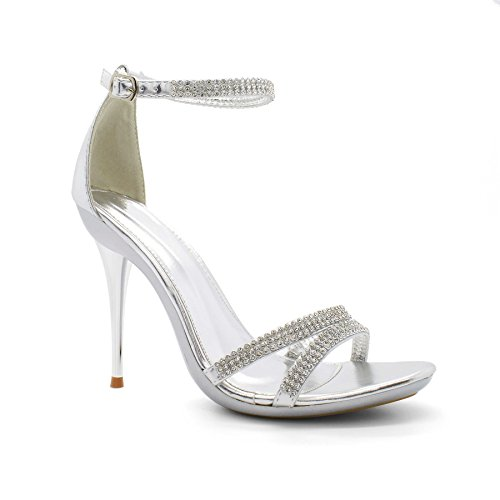 Calzado Delilah de Londres, Mujer Diamante Barely There Sandalias Tacón Plateado - plata