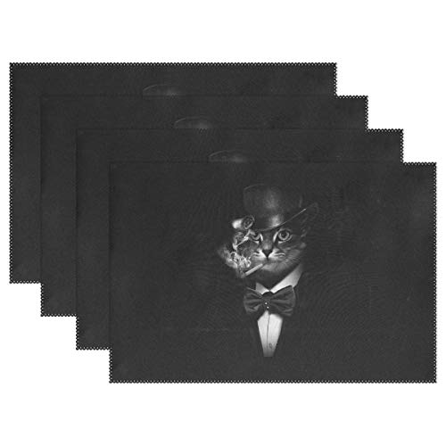 Mr.Lucien Black Smoking Cat Placemats Cool Pussy Take Bow Wear Suit Hat Gentleman Fantasy Heat Insulation Stain Durable Non-Slip Kitchen Table Place Mats 18