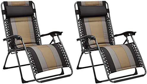 Padded Zero Gravity Chair- Black, 2 Pack