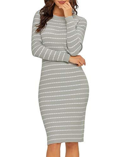Lookbook Store Women's Casual Crew Neck Knit Sweater Stripe Bodycon Pencil Dress Grey Size S ()