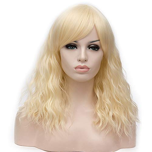 "BERON 18"" Women Girls' Lovely Medium Curly Wig with Bangs Synthetic Wavy Wigs for Daily Use or Halloween Cosplay Party (Light -"
