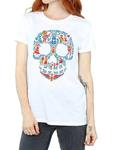 T Donna Bianca Pattern Coco Skull shirt Disney Boyfriend Fit dAwXOxq