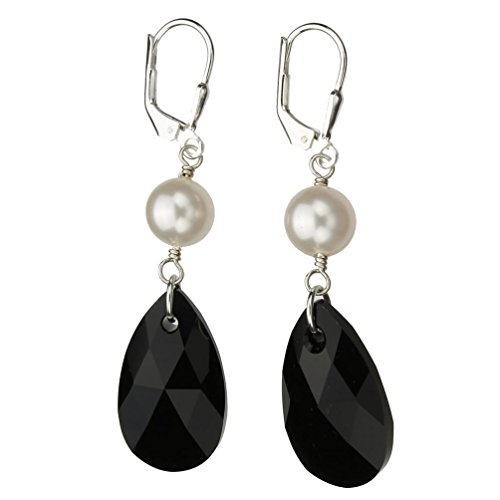 Swarovski Briolette Drop (Sterling Silver Leverback Earrings Black Pear Teardrop Simulated Pearl Made with Swarovski Crystals)
