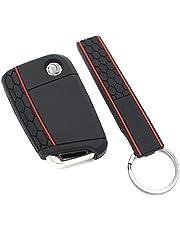 Finest-Folia etui na klucze + Keytag VB na 3 przyciski samochodowe silikonowe etui na klucze (czarne)