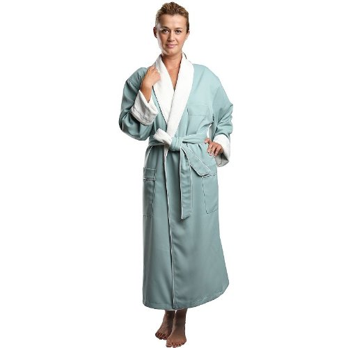 - Monarch/Cypress Unisex Terry Lined Microfiber Robe Small Sage-Hotel Quality Shawl Collar Robe with Microfiber Shell and Terry Lining.