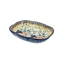 Polish Pottery Blue Butterfly Soap Dish