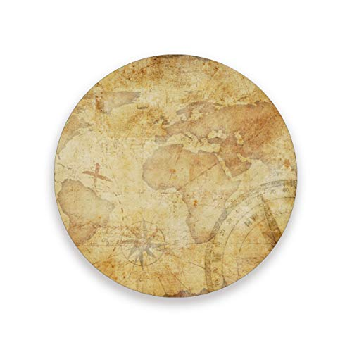 Treasure Hunt Map Coasters for Drinks 3.9 Inches Ceramic Stone Drink Coaster with Cork Back for Home, Bar, Protect Tables from Water and Scratches