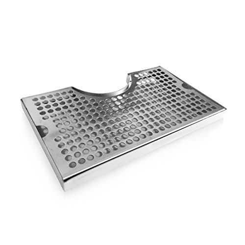 Non-Slip Rubber Padded Stainless Steel Drip Tray with Tower Cutout by Proper Pour
