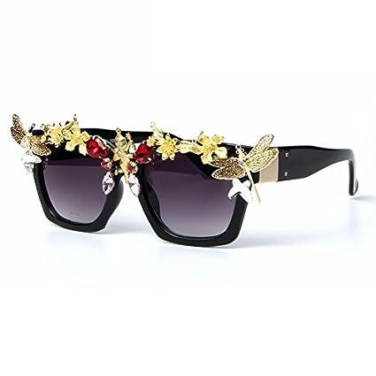 TL-Sunglasses Gafas de Sol para Mujeres Oro Flor barroca con ...
