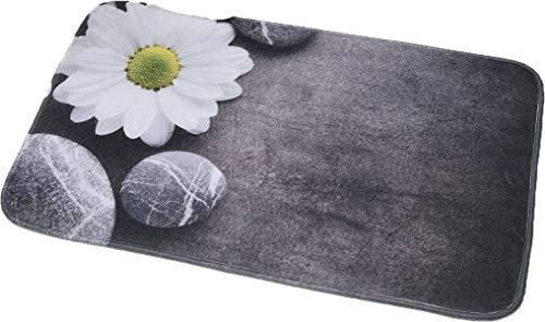- EVIDECO 7701447 Printed Microfiber Mat Bath Rug Zen Garden 29.5L x 17W, 29.5 L x 17 W x 0.5 H, Gray