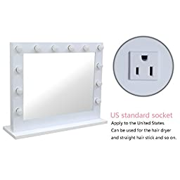 Chende White Hollywood Lighted Makeup Vanity Mirror Light with Dimmer Gift