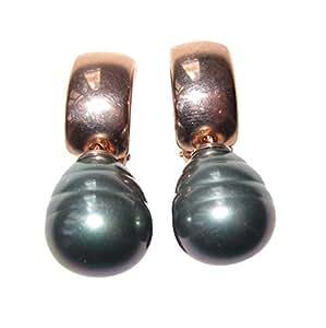Clips dorados y gris perla barroca de vidrio