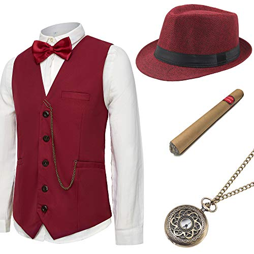(BABEYOND 1920s Mens Gatsby Gangster Vest Costume Accessories Set Manhattan Fedora Hat Bowtie Plastic Cigar Vintage Pocket Watch (Wine Red,)