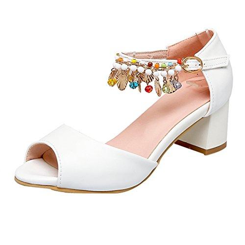 à Sandales 5 de Strass Mignon Couleur UH Cheville Bride CM Basse Peep Bloc Blanc Toe Femmes Talons avec ZF64wq5vx