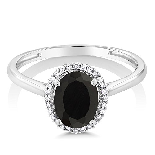 10K White Gold Diamond Halo Engagement Ring set with 1.25 Ct Oval Black Onyx (Available in size 5, 6, 7, 8, 9)